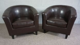 Two Replica Brown Leather Tub Chairs, Brown Faux Leather Upholstered with Removable Seat Cushions