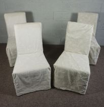 Set of Six Contemporary Dining Chairs with faux crewelwork covers