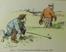 """Golfing Print, """"Caddie Ave yer Finished wi the Links for Today Sir"""" 35cm x 45cm"""