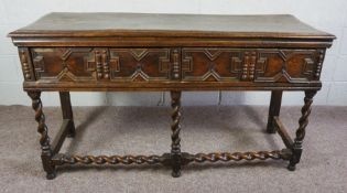 Charles II Oak Dresser Base,Late 17th Century,With two drawers,Raised on barley twist and beam