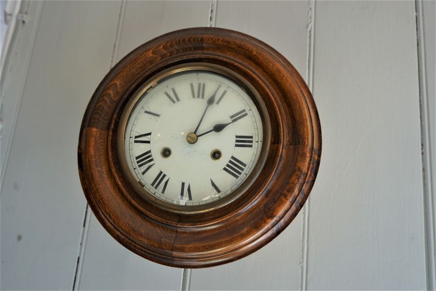 Mahogany Wall Clock,Circa Late 19th Century,Having a twin train movement,29cm diameter