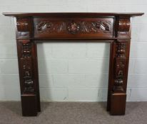 Carved Mahogany Fire Surround, In Victorian style with leaf to centreand repeating Dragon carving