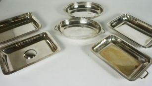 Three Silver Plate Entree DIshes and Covers, and 4 miniature crystal sherry glasses