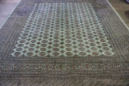 Green Large Handmade Bokhara Rug, 127cm x 130cm, and a matching runner 125cm x 55cm from the