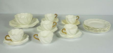 Coal Port White and Gold Leaf Tea Service circa 1962, moulded with scrolls, comprising six teacups