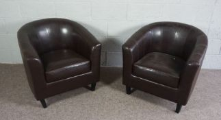 Two Brown Faux Leather Tub Chairs, Faux Leather Upholstered with Removable Seat Cushion
