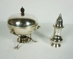 A Mappin & Webb Silver Plated Egg Boiler, Circa 1900, of ovoid form with turned wood knop and