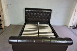Modern King Sized Leather Covered Bed