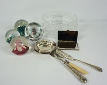 Five Selkirk Glass Paperweights, Two boxed, With a Boxed Bohemia Crystal Bowl, And some loose Silver