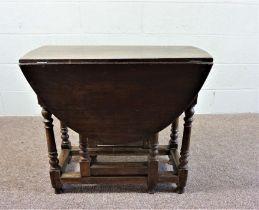 Oak Drop Leaf Table, Circa 19th Century,With Barley Twist Legs