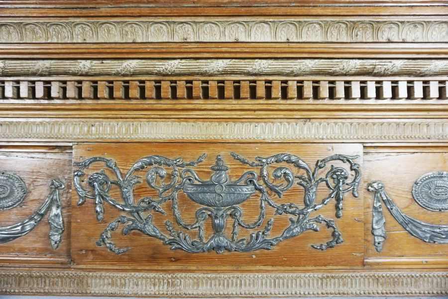 A George III Pewter Mounted Pine and Gesso Fire Surround, - Image 2 of 5