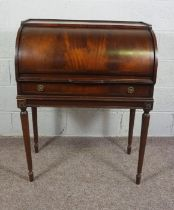 Mahogany Cylinder Bureau, In Louis XVI style, with fitted interior on fluted legs, 77cm wide