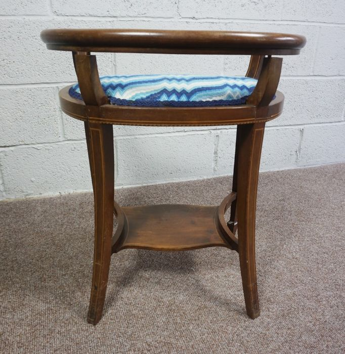 Mahogany Window Seat with Blue and White Cushion, Circa 18th Century with reupholstered cushion pad - Image 4 of 4