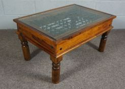 Modern Glass and Lead topped Oak Table