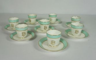Set of Eight French Porcelain Coffee Cups and Saucers, Circa 1880, Gilt PB monogram within turquoise