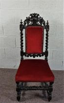 An Oak Dining Chair, In Jacobean style, carved with a dog mask on barley twist legs