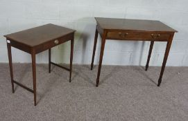 A Mahogany Side Table, 19th Century, with frieze drawer on square section legs and a similar smaller