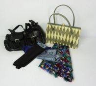 Mixed Lot of Sundries, To include a Liberty Scarf, Evening Bags, Garden Parasol and Seat Cushions
