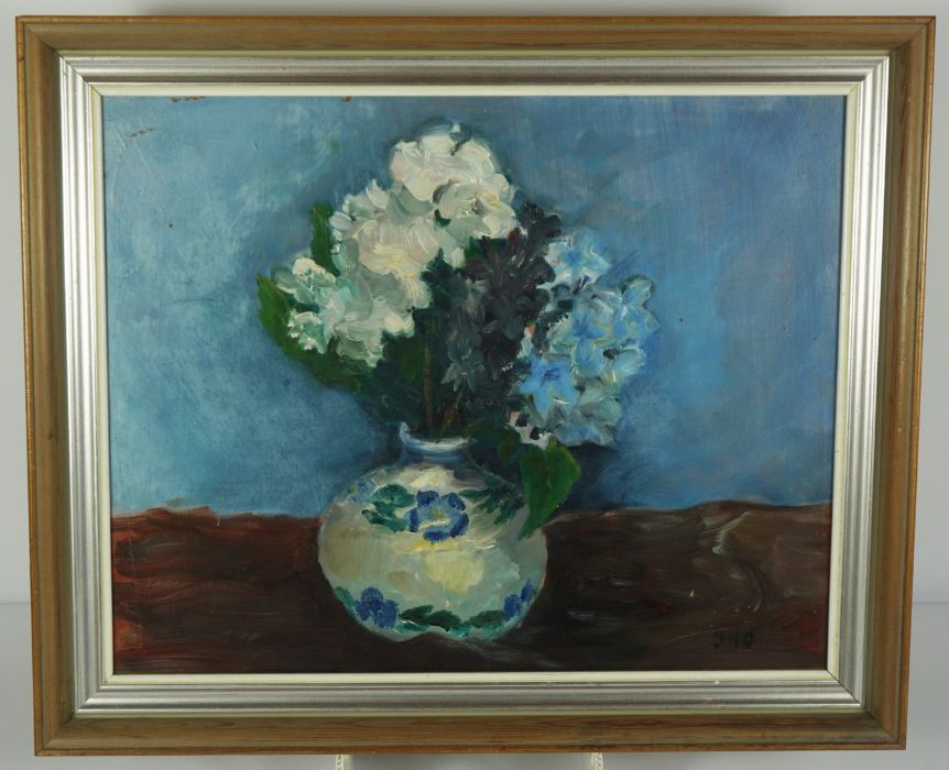 """Donald M MacDonald (Scottish), """"Blue Study"""",Oil on Board, Initialled DMD,38.5cm x 50cm,To verso - Image 2 of 4"""