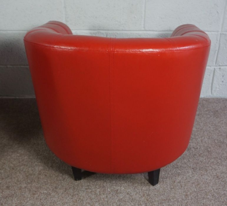 Orange Faux Leather Upholstered Tub Style Chair with Removable Seat Cushion - Image 3 of 3
