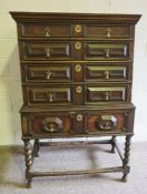 Charles II Oak Chest on Stand, Circa Late 17th Century,Having four long drawers above two small