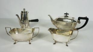 Silver Plate 4 Piece Tea and Coffee Servicecomprising of Tea Pot, Coffee Pot with wooden handle,