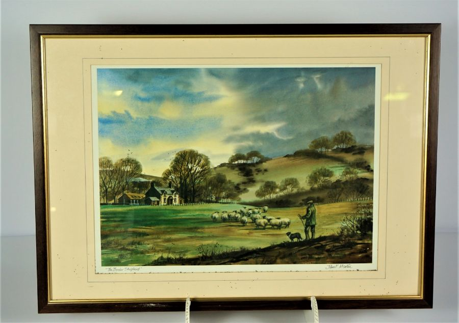 """James F Martin, """"The Border Shepherd"""" Signed Print, Signed in pencil, 27.5cm x 39cm, With a John - Image 2 of 7"""