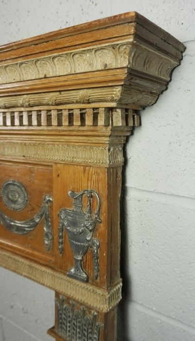 A George III Pewter Mounted Pine and Gesso Fire Surround, - Image 4 of 5