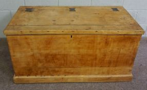 Pine Storage Chest,Circa Late 19th Century,Having a hinged top,Decorated with metal brackets,