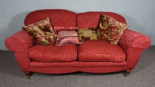 Red Chesterfield, 1980's style, 2 seater sofa