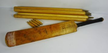 "Spalding Bros ""Club Match"" Cricket Bat,With a set of Stumps (a lot)"