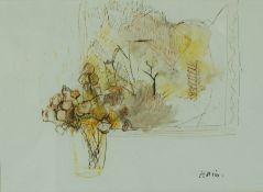 """Earl George A Haig (The Earl Haig 1918-2009) OBE DL MA ARSA, """"Autumn Flowers"""",Watercolour,Signed"""