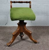 Walnut Stained Piano Stool with Green Cushion