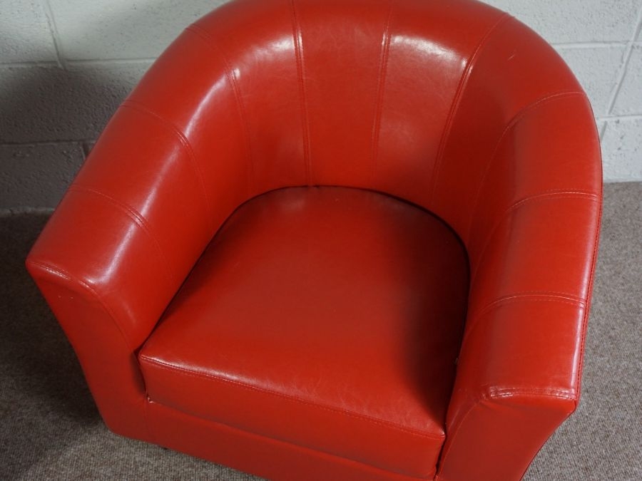 Orange Faux Leather Upholstered Tub Style Chair with Removable Seat Cushion - Image 2 of 3