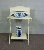 Iron and Wood, chalk painted Wash Stand with Decorative Jug and Bowl Set, Washstand painted in White