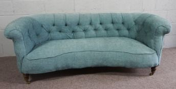 Vintage Chesterfield Sofa covered in Blue Fabric, upon castors