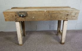 Pine Work Bench, Having attached vice, 86cm high, 153cm wide, 61cm deep