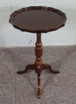 Mahogany Wine Table, In George II style with pie crust top on tripod base