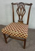 Chippendale Style Mahogany Dining Chair,94cm high Condition reportAreas of old worm to the chair