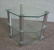 Modern Glass Four Tier Etagere And a Modern Lamp