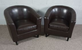 Pair of Brown Faux Leather Tub Chairs on dark wood legs
