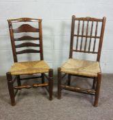 Two Lancashire Style Oak Kitchen Chairs, 19th Century,Both having woven rush seats,91cm, 97cm high