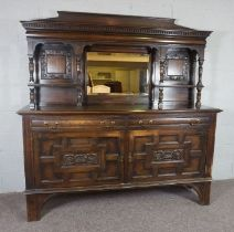 A Victorian Oak Mirror Back Side Board, With dentil cornice over a rectangular plate and an