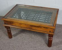 Glass Topped Coffee Table, modernwooden coffee table with iron detail under a glass top