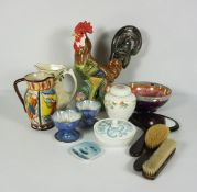 Collection of Decorative China,To include a Majolica Jug,Italian style Cockerel Figure,Maling