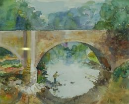 """David Wood (1933-1996), """"Fishing on the Teviot"""",Watercolour, Initialled DW, 39cm x 48.5cm,To verso"""