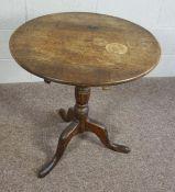 George III Oak Tripod Table, Circular snap top,68cm high, 63cm wide