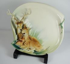 A Franz Designer Gallery Collection Plaque, Modelled and painted in relief with a Family of Deer