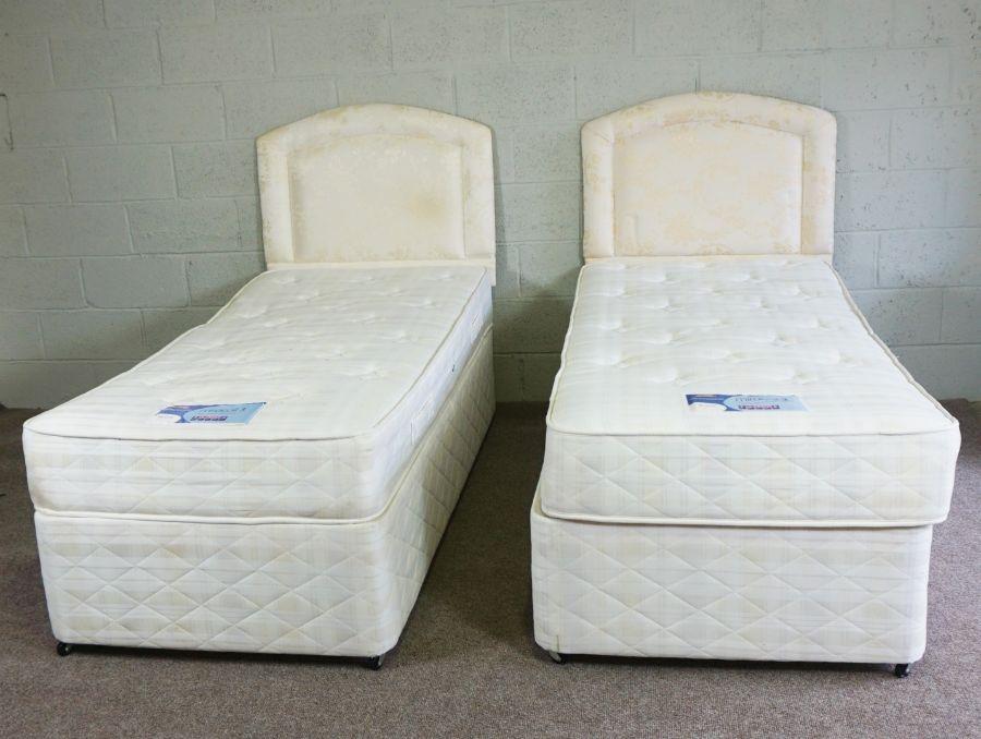 Pair of Divan Single Beds, 195cm long (2)