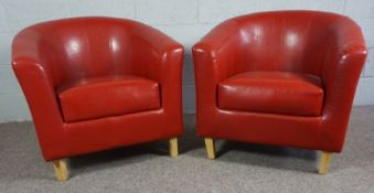 Two Orange Faux Leather Tub Chairs